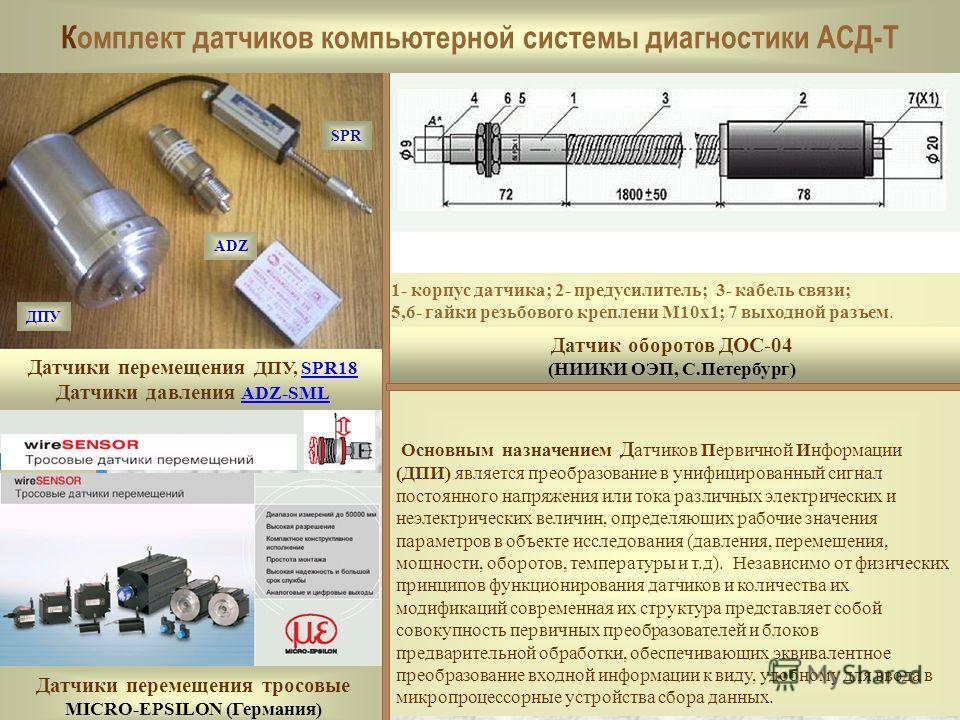 Датчики перемещения ДПУ, SPR18SPR18 Датчики давления ADZ-SML ADZ-SML Датчик оборотов ДОС-04 (НИИКИ ОЭП, С.Петербург) Датчики перемещения тросовые MICRO-EPSILON (Германия) Основным назначением Д атчиков Первичной Информации (ДПИ) является преобразован