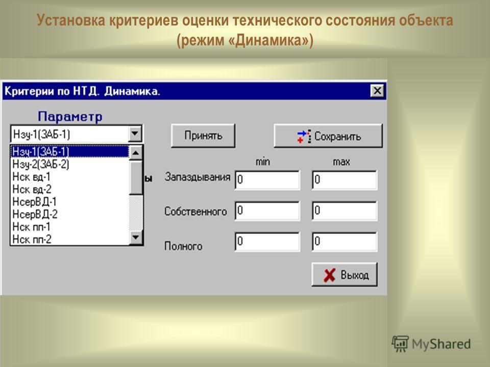 Установка критериев оценки технического состояния объекта (режим «Динамика»)