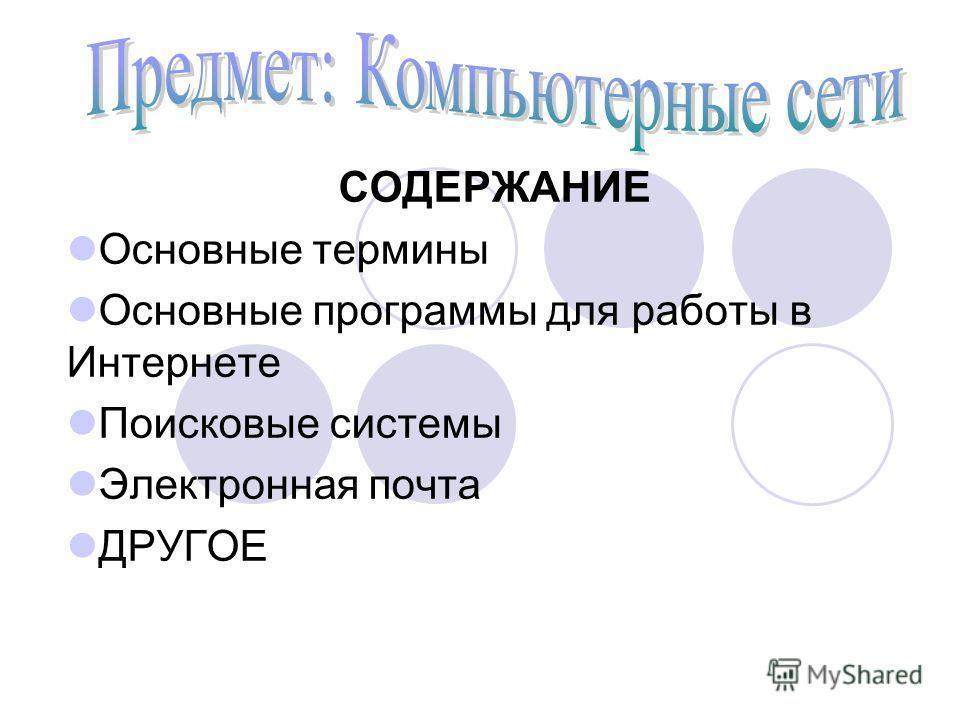 СОДЕРЖАНИЕ Основные термины Основные программы для работы в Интернете Поисковые системы Электронная почта ДРУГОЕ