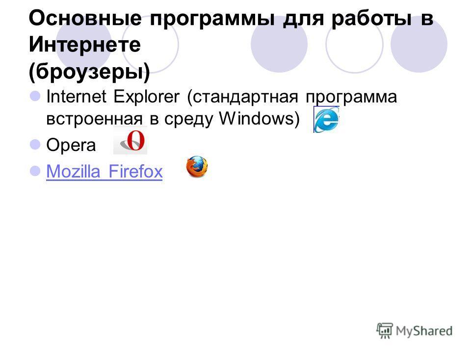 Основные программы для работы в Интернете (броузеры) Internet Explorer (стандартная программа встроенная в среду Windows) Opera Mozilla Firefox