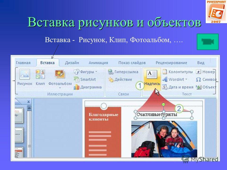 Вставка рисунков и объектов Вставка (через местозаполнитель)