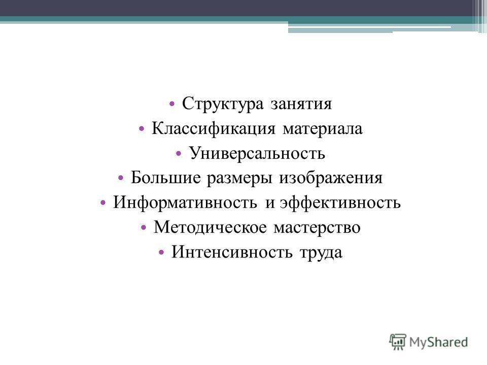 Структура занятия Классификация материала Универсальность Большие размеры изображения Информативность и эффективность Методическое мастерство Интенсивность труда
