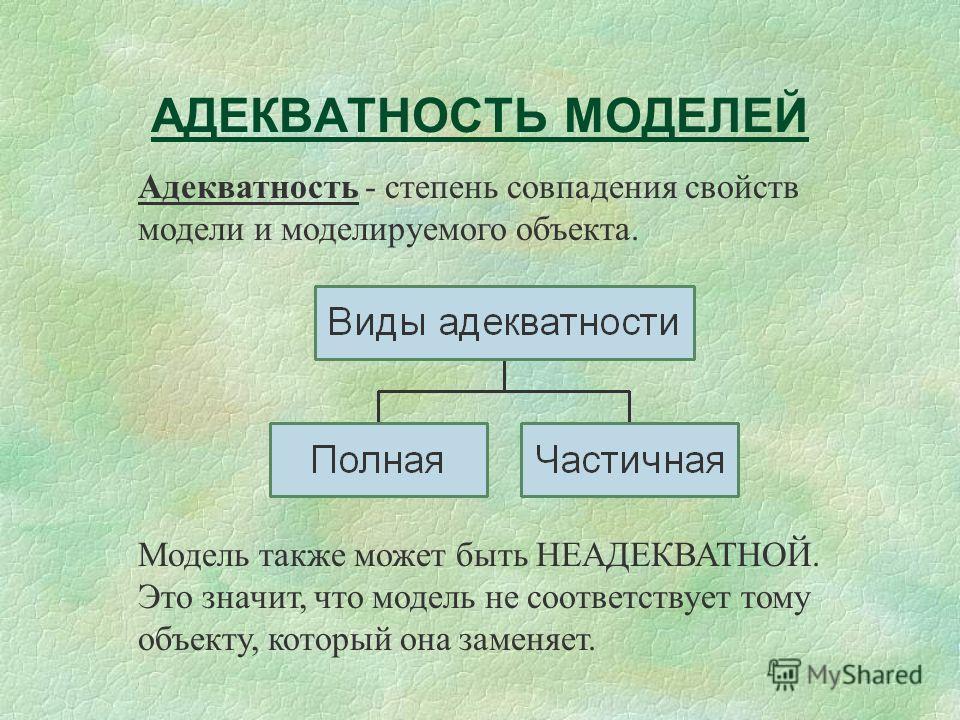 АДЕКВАТНОСТЬ МОДЕЛЕЙ Адекватность - степень совпадения свойств модели и моделируемого объекта. Модель также может быть НЕАДЕКВАТНОЙ. Это значит, что модель не соответствует тому объекту, который она заменяет.