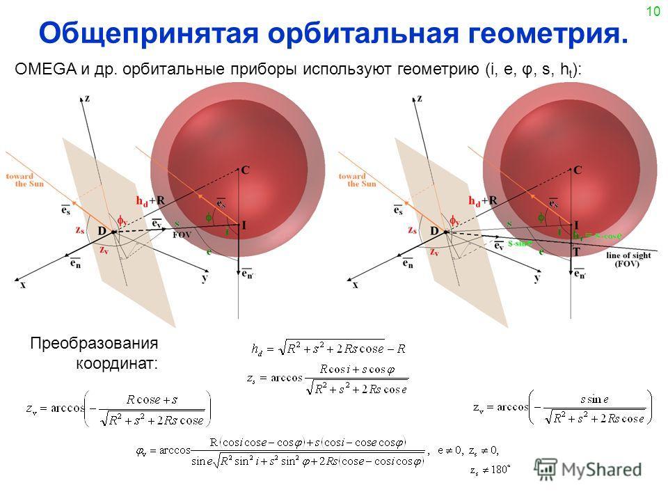 10 Общепринятая орбитальная геометрия. OMEGA и др. орбитальные приборы используют геометрию (i, e, φ, s, h t ): Преобразования координат: