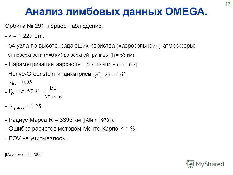 17 Анализ лимбовых данных OMEGA. Орбита 291, первое наблюдение. - λ = 1.227 μm. - 54 узла по высоте, задающих свойства («аэрозольной») атмосферы: от поверхности (h=0 км) до верхней границы (h = 53 км). - Параметризация аэрозоля: [Ockert-Bell M. E. et