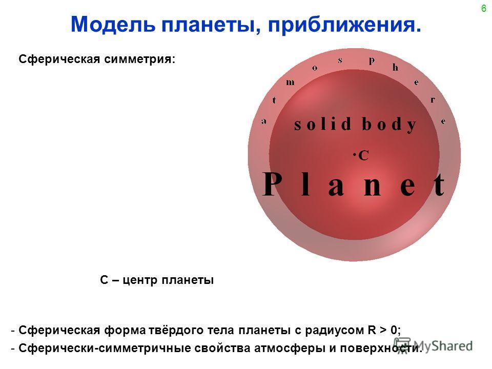 6 Модель планеты, приближения. - Сферическая форма твёрдого тела планеты с радиусом R > 0; - Сферически-симметричные свойства атмосферы и поверхности. C – центр планеты Сферическая симметрия: