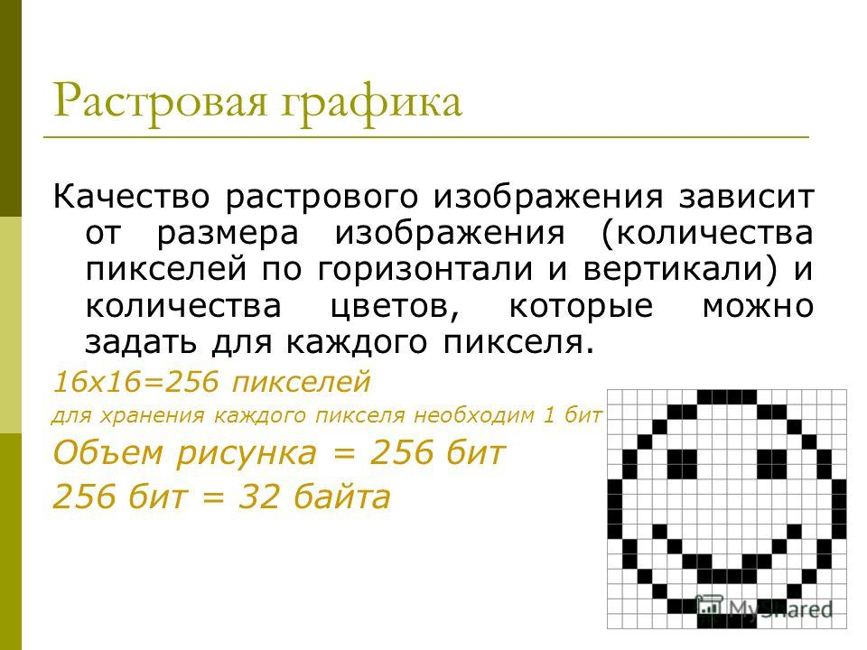Растровая графика Качество растрового изображения зависит от размера изображения (количества пикселей по горизонтали и вертикали) и количества цветов, которые можно задать для каждого пикселя. 16x16=256 пикселей для хранения каждого пикселя необходим