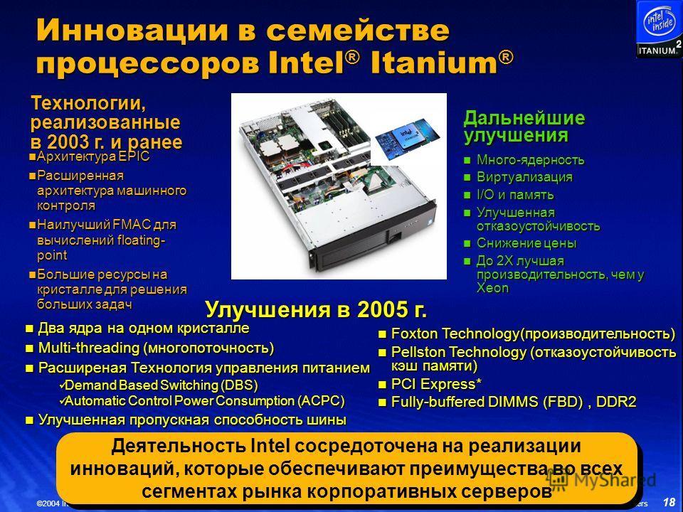 18 ©2004 Intel Corporation *Other brands and names are the property of their respective owners Инновации в семействе процессоров Intel ® Itanium ® Улучшения в 2005 г. Технологии, реализованные в 2003 г. и ранее Архитектура EPIC Архитектура EPIC Расши