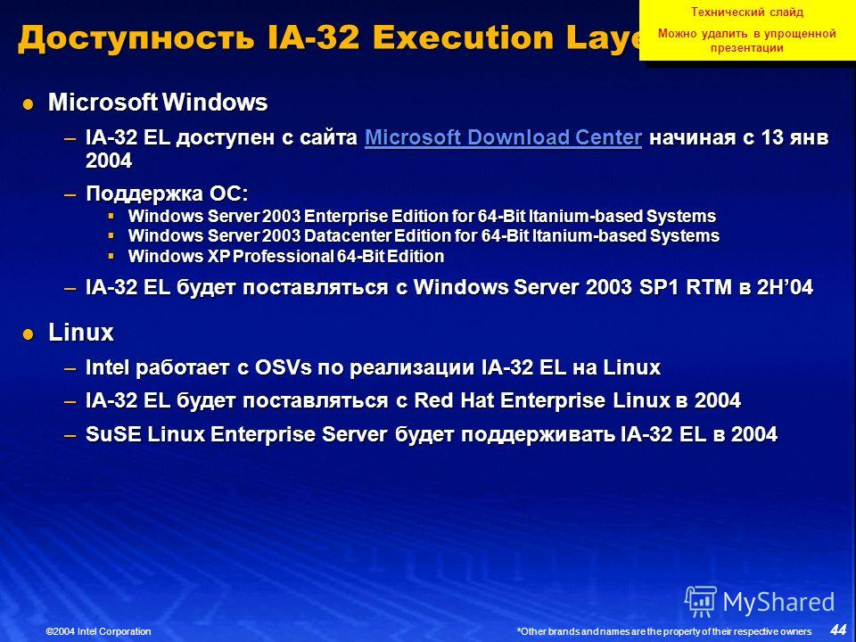44 ©2004 Intel Corporation *Other brands and names are the property of their respective owners Доступность IA-32 Execution Layer Microsoft Windows Microsoft Windows –IA-32 EL доступен с сайта Microsoft Download Center начиная с 13 янв 2004 Microsoft