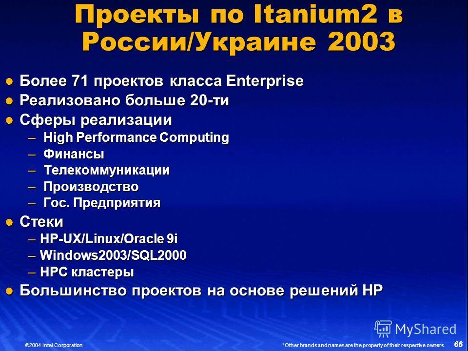 66 ©2004 Intel Corporation *Other brands and names are the property of their respective owners Проекты по Itanium2 в России/Украине 2003 Более 71 проектов класса Enterprise Более 71 проектов класса Enterprise Реализовано больше 20-ти Реализовано боль