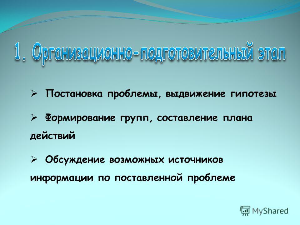 Постановка проблемы, выдвижение гипотезы Формирование групп, составление плана действий Обсуждение возможных источников информации по поставленной проблеме