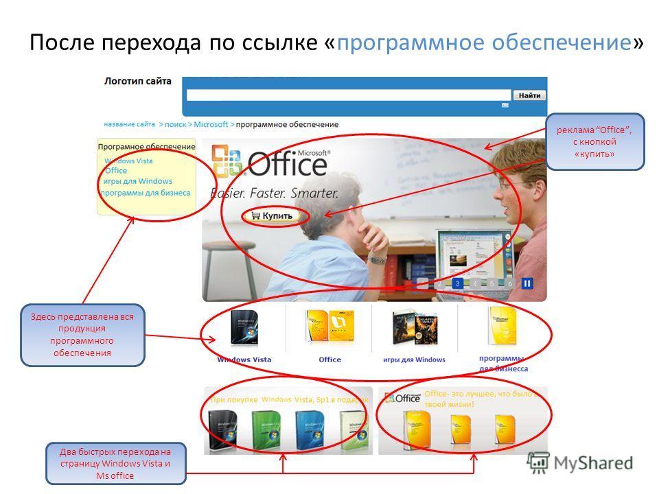 После перехода по ссылке «программное обеспечение» Здесь представлена вся продукция программного обеспечения реклама Office, с кнопкой «купить» Два быстрых перехода на страницу Windows Vista и Ms office