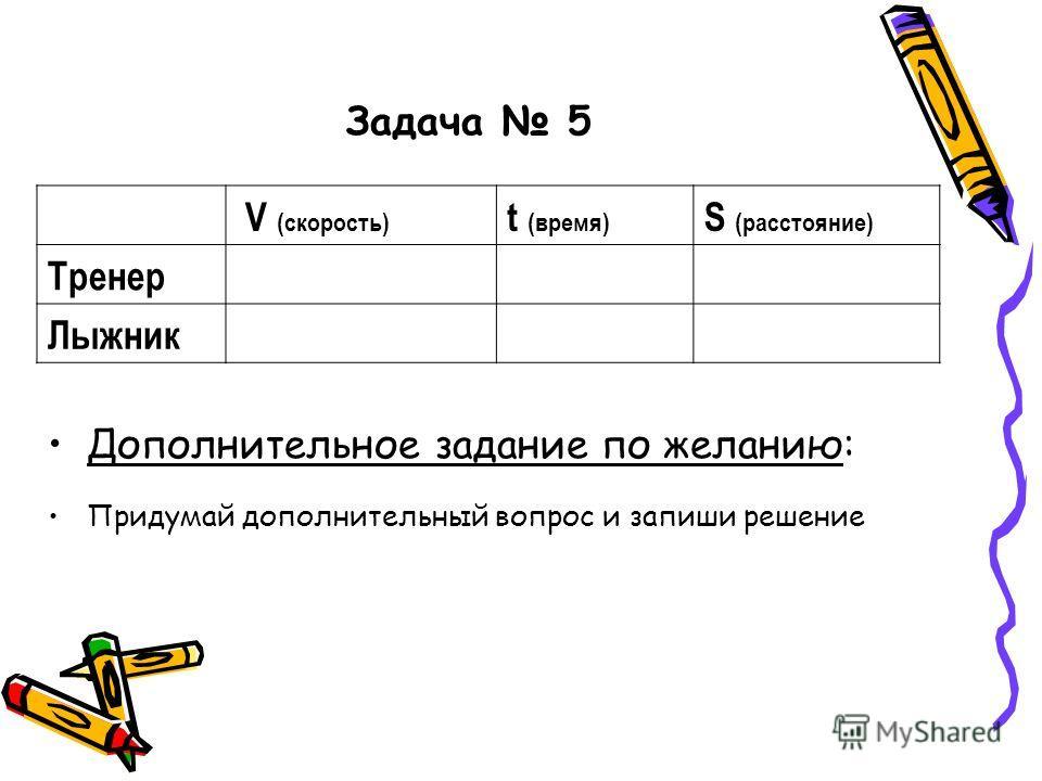 Задача 5 V (cкорость) t (время) S (расстояние) Тренер Лыжник Дополнительное задание по желанию: Придумай дополнительный вопрос и запиши решение