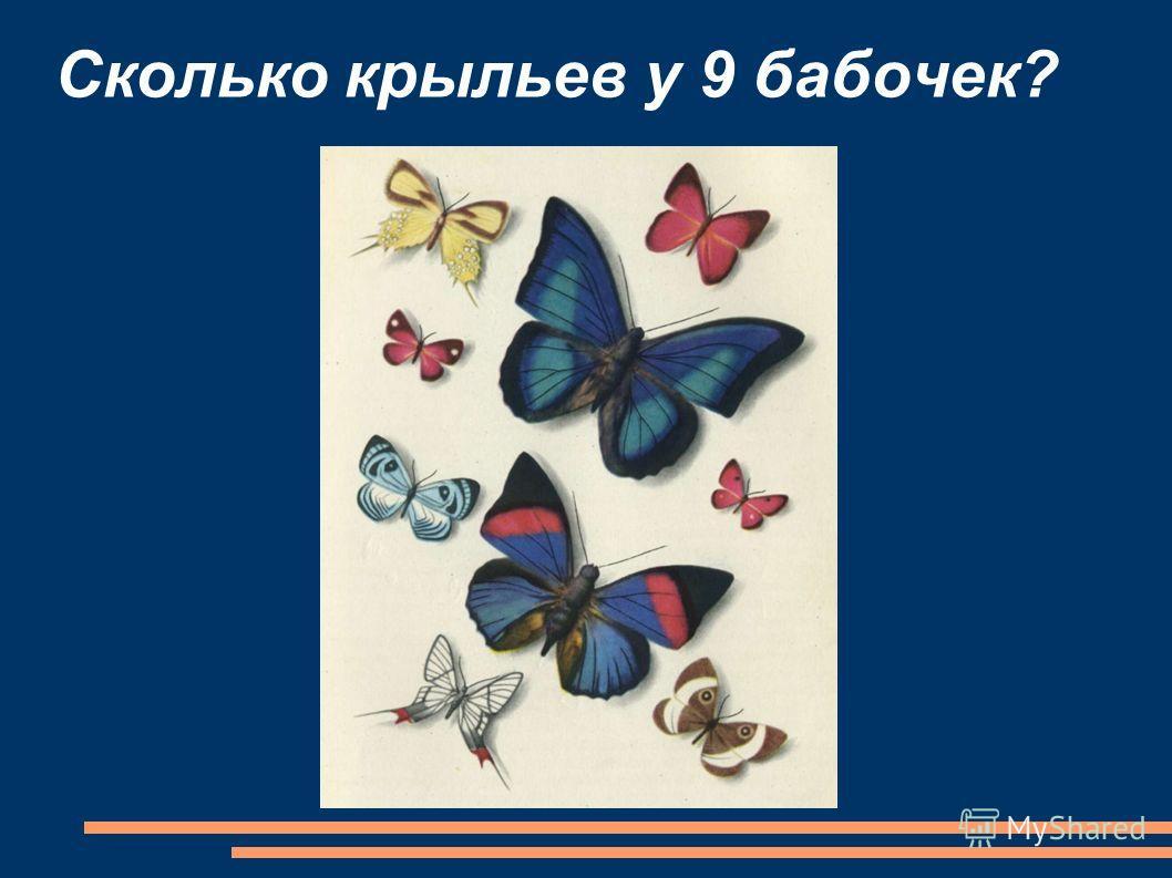Сколько крыльев у 9 бабочек?