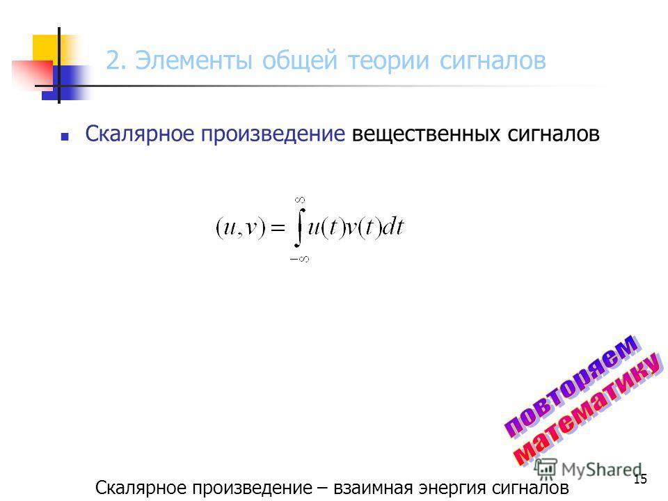 15 Скалярное произведение вещественных сигналов Скалярное произведение – взаимная энергия сигналов 2. Элементы общей теории сигналов