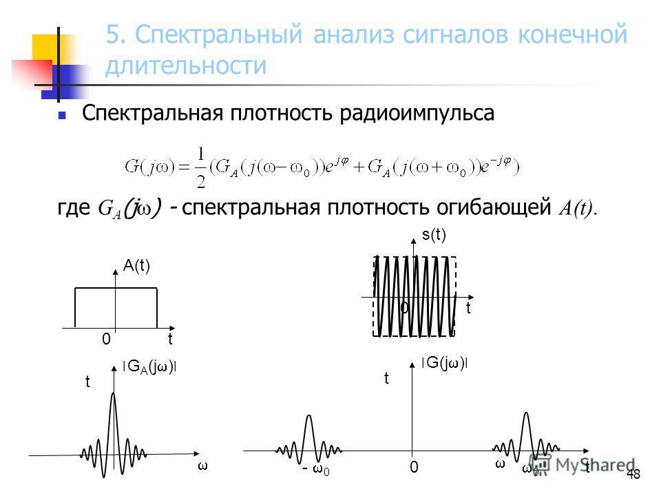 48 Спектральная плотность радиоимпульса где G A (j ) - спектральная плотность огибающей A(t). A(t) t 0t0t ׀ G A (j ) ׀ t s(t) 0t0t ׀ G(j ) ׀ - 0 0 0 t 5. Спектральный анализ сигналов конечной длительности