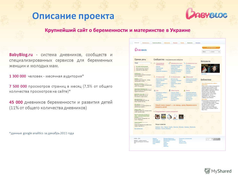 Описание проекта BabyBlog.ru - система дневников, сообществ и специализированных сервисов для беременных женщин и молодых мам. 1 300 000 человек - месячная аудитория* 7 500 000 просмотров страниц в месяц (7,5% от общего количества просмотров на сайте