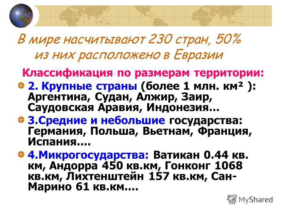 В мире насчитывают 230 стран, 50% из них расположено в Евразии Классификация по размерам территории: 2. Крупные страны (более 1 млн. км² ): Аргентина, Судан, Алжир, Заир, Саудовская Аравия, Индонезия... 3.Средние и небольшие государства: Германия, По