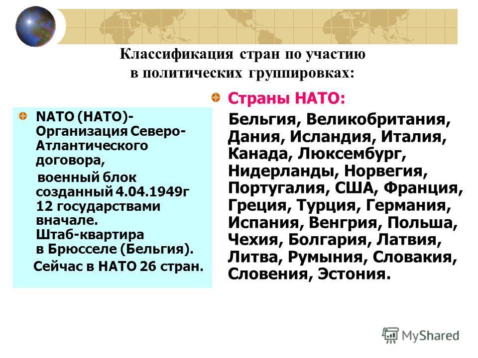 Классификация стран по участию в политических группировках: NATO (НАТО)- Организация Северо- Атлантического договора, военный блок созданный 4.04.1949г 12 государствами вначале. Штаб-квартира в Брюсселе (Бельгия). Сейчас в НАТО 26 стран. Страны НАТО: