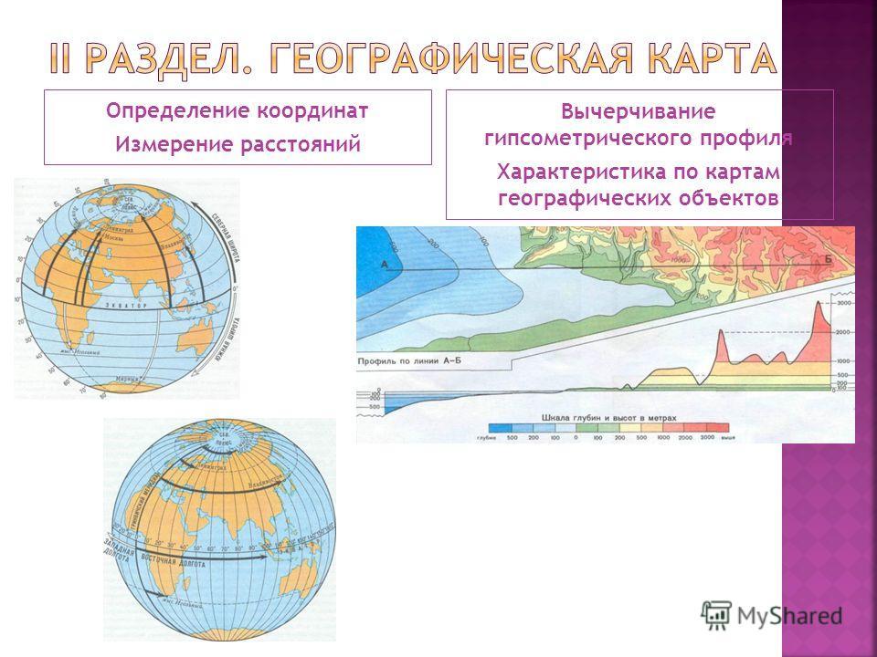 Определение координат Измерение расстояний Вычерчивание гипсометрического профиля Характеристика по картам географических объектов