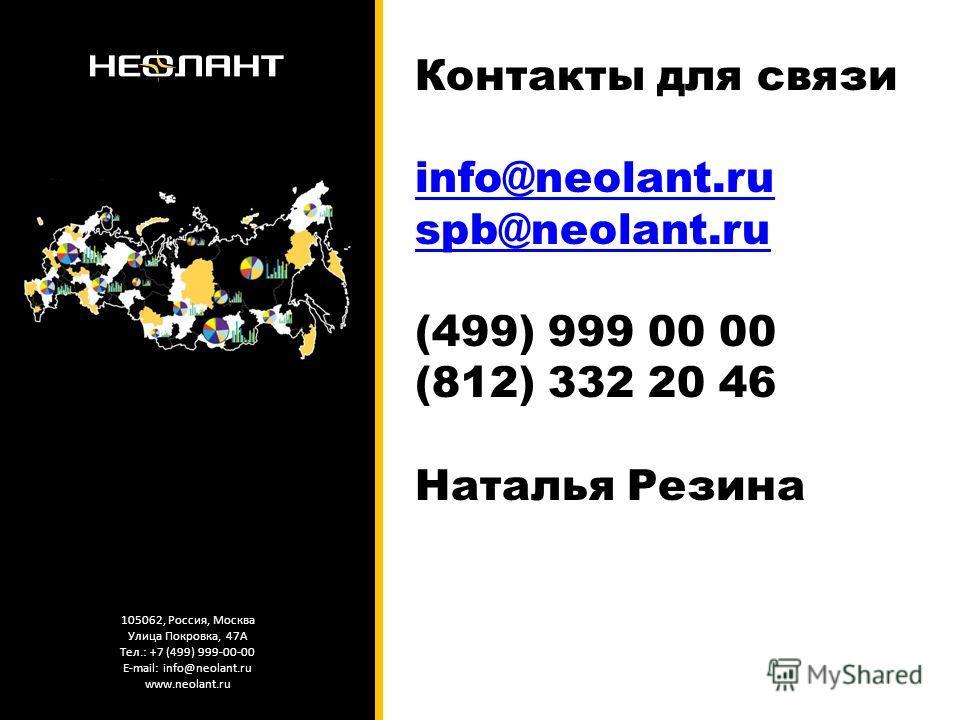 105062, Россия, Москва Улица Покровка, 47А Тел.: +7 (499) 999-00-00 E-mail: info@neolant.ru www.neolant.ru Контакты для связи info@neolant.ru spb@neolant.ru (499) 999 00 00 (812) 332 20 46 Наталья Резина info@neolant.ru spb@neolant.ru