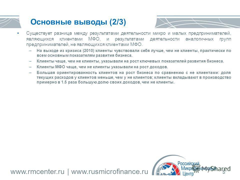 www.rmcenter.ru | www.rusmicrofinance.ru 5 Основные выводы (2/3) Существует разница между результатами деятельности микро и малых предпринимателей, являющихся клиентами МФО, и результатами деятельности аналогичных групп предпринимателей, не являющихс