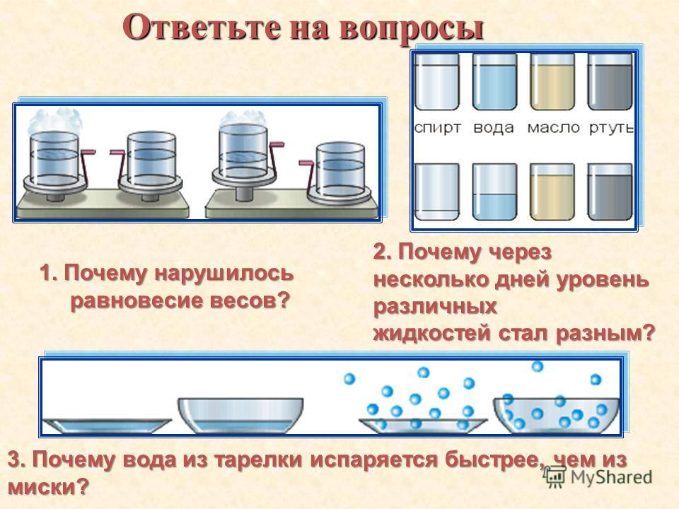 1. Какой процесс называют парообразованием? 2. Какие два вида парообразования вы знаете? 3. Что такое испарение?
