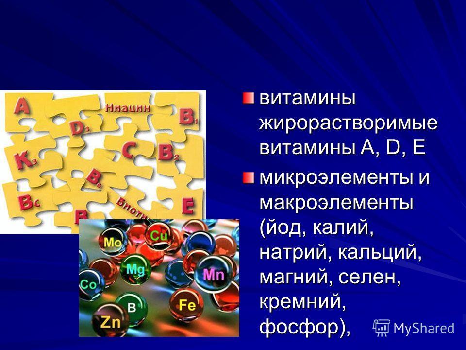 витамины жирорастворимые витамины А, D, Е микроэлементы и макроэлементы (йод, калий, натрий, кальций, магний, селен, кремний, фосфор),