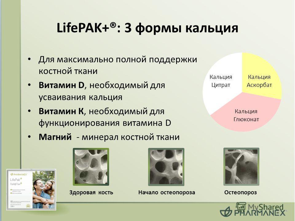 LifePAK+®: 3 формы кальция Для максимально полной поддержки костной ткани Витамин D, необходимый для усваивания кальция Витамин К, необходимый для функционирования витамина D Магний - минерал костной ткани Здоровая костьНачало остеопорозаОстеопороз