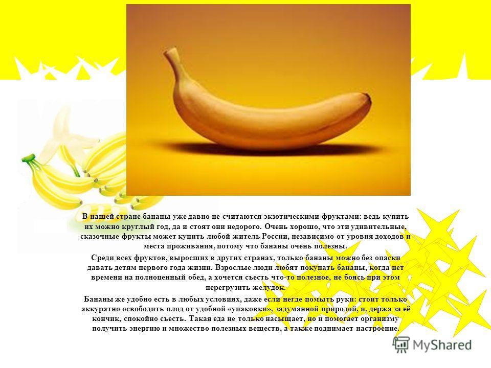 В нашей стране бананы уже давно не считаются экзотическими фруктами: ведь купить их можно круглый год, да и стоят они недорого. Очень хорошо, что эти удивительные, сказочные фрукты может купить любой житель России, независимо от уровня доходов и мест