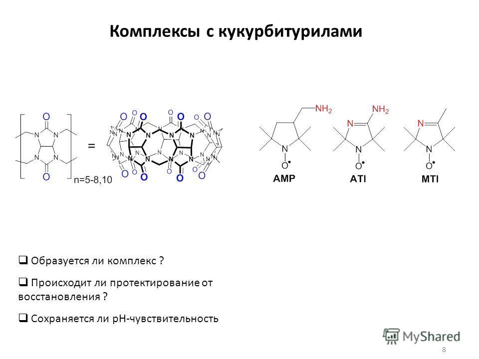 Комплексы с кукурбитурилами 8 Образуется ли комплекс ? Происходит ли протектирование от восстановления ? Сохраняется ли рН-чувствительность