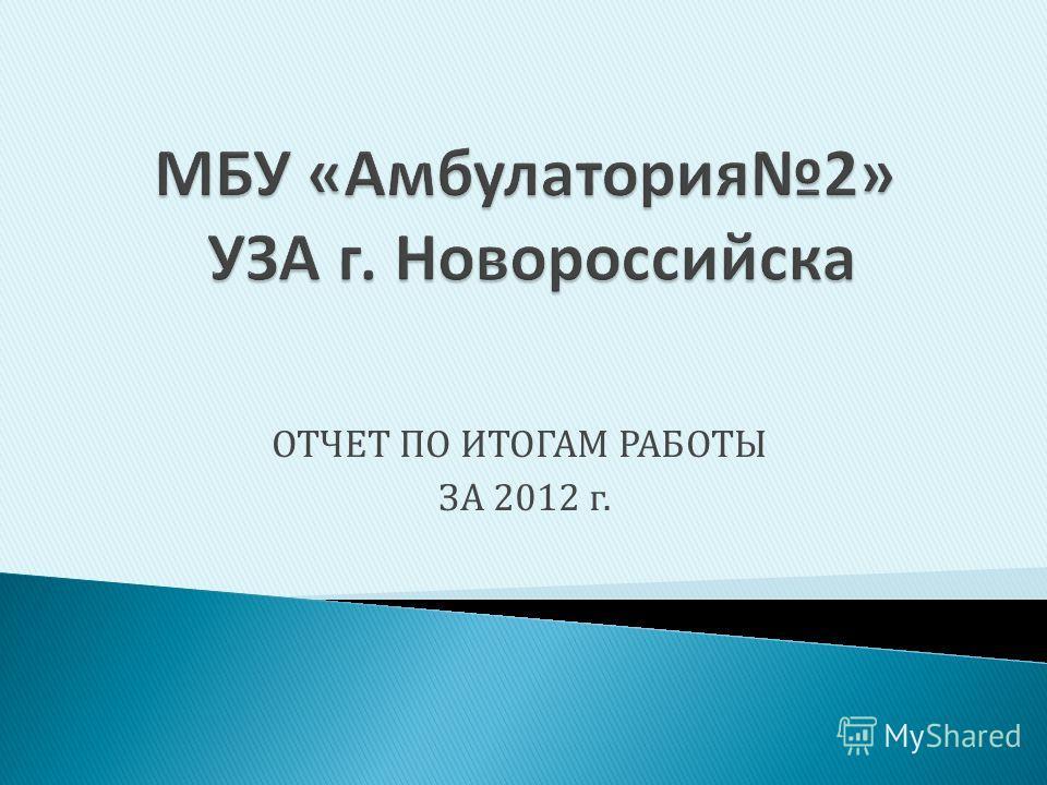 ОТЧЕТ ПО ИТОГАМ РАБОТЫ ЗА 2012 г.