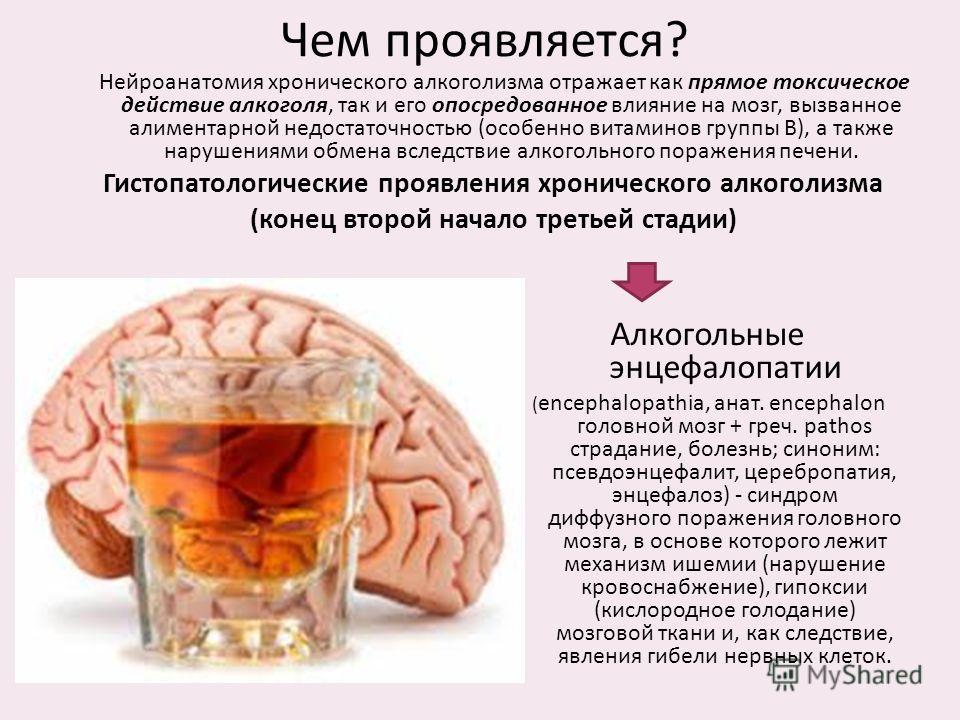 Чем проявляется? Нейроанатомия хронического алкоголизма отражает как прямое токсическое действие алкоголя, так и его опосредованное влияние на мозг, вызванное алиментарной недостаточностью (особенно витаминов группы В), а также нарушениями обмена всл