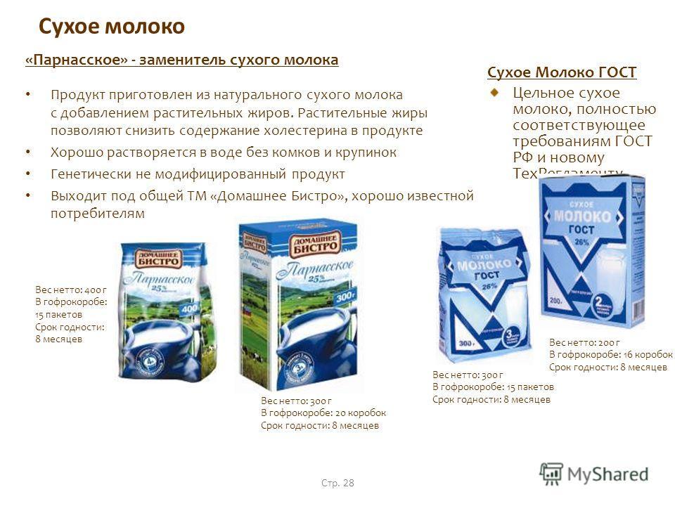 Стр. 28 Сухое молоко «Парнасское» - заменитель сухого молока Продукт приготовлен из натурального сухого молока с добавлением растительных жиров. Растительные жиры позволяют снизить содержание холестерина в продукте Хорошо растворяется в воде без комк