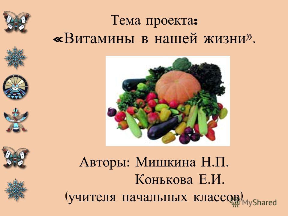 Тема проекта : « Витамины в нашей жизни ». Авторы : Мишкина Н. П. Конькова Е. И. ( учителя начальных классов )