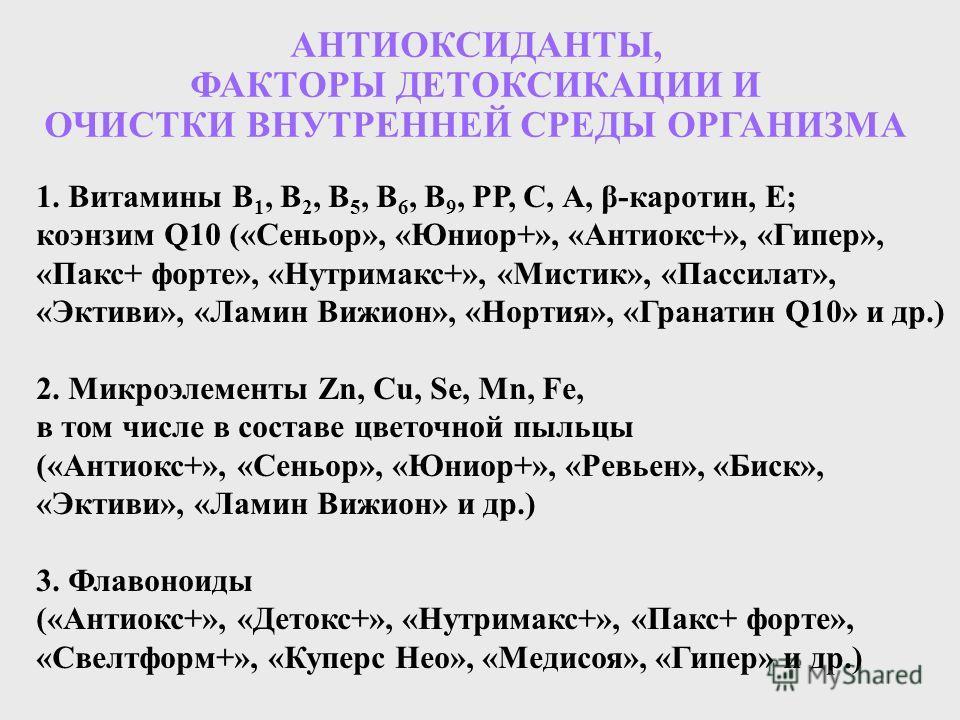 1. Витамины В 1, В 2, В 5, В 6, В 9, РР, С, А, β-каротин, Е; коэнзим Q10 («Сеньор», «Юниор+», «Антиокс+», «Гипер», «Пакс+ форте», «Нутримакс+», «Мистик», «Пассилат», «Эктиви», «Ламин Вижион», «Нортия», «Гранатин Q10» и др.) 2. Микроэлементы Zn, Cu, S