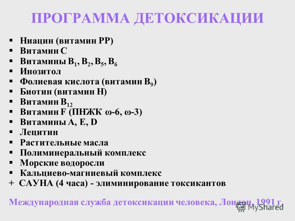 ПРОГРАММА ДЕТОКСИКАЦИИ Ниацин (витамин РР) Витамин С Витамины В 1, В 2, В 5, В 6 Инозитол Фолиевая кислота (витамин В 9 ) Биотин (витамин Н) Витамин В 12 Витамин F (ПНЖК ω-6, ω-3) Витамины А, Е, D Лецитин Растительные масла Полиминеральный комплекс М