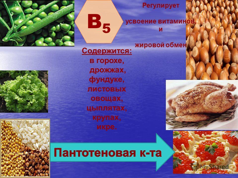 B5B5 Регулирует усвоение витаминов, и жировой обмен Содержится: в горохе, дрожжах, фундуке, листовых овощах, цыплятах, крупах, икре.