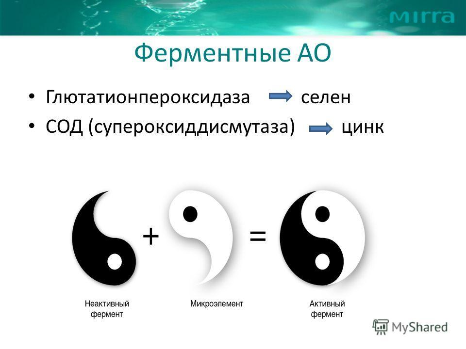Ферментные АО Глютатионпероксидаза селен СОД (супероксиддисмутаза) цинк