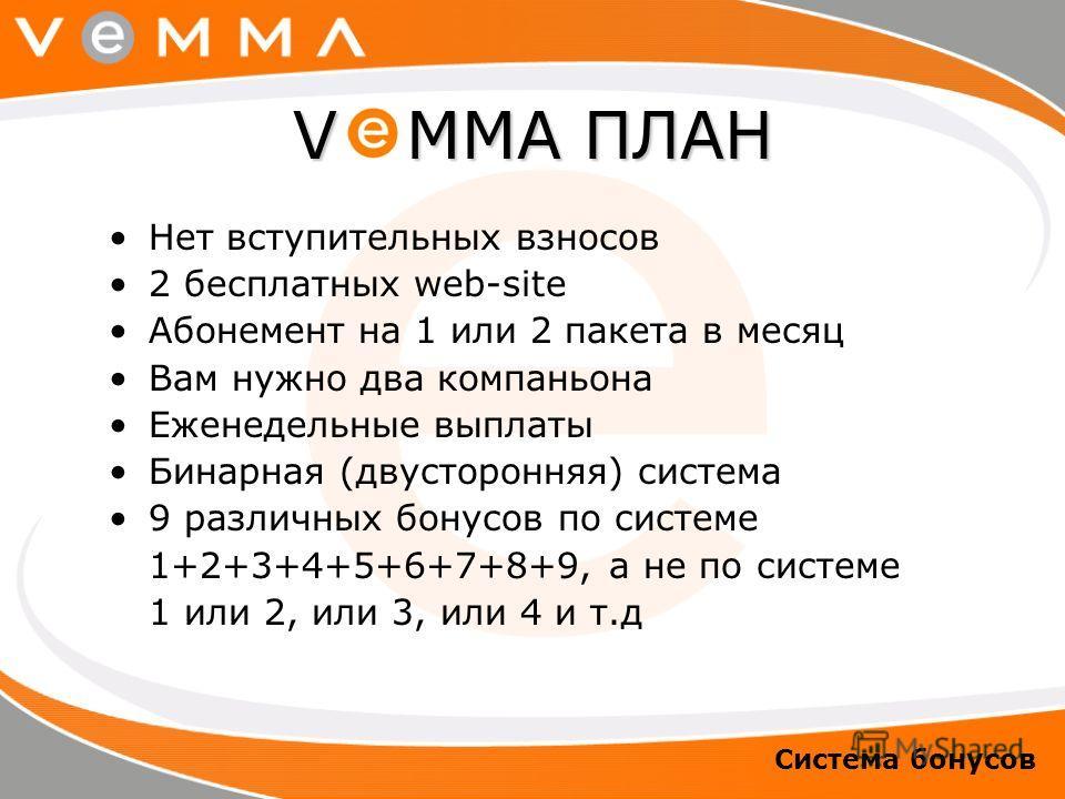 Нет вступительных взносов 2 бесплатных web-site Абонемент на 1 или 2 пакета в месяц Вам нужно два компаньона Еженедельные выплаты Бинарная (двусторонняя) система 9 различных бонусов по системе 1+2+3+4+5+6+7+8+9, а не по системе 1 или 2, или 3, или 4