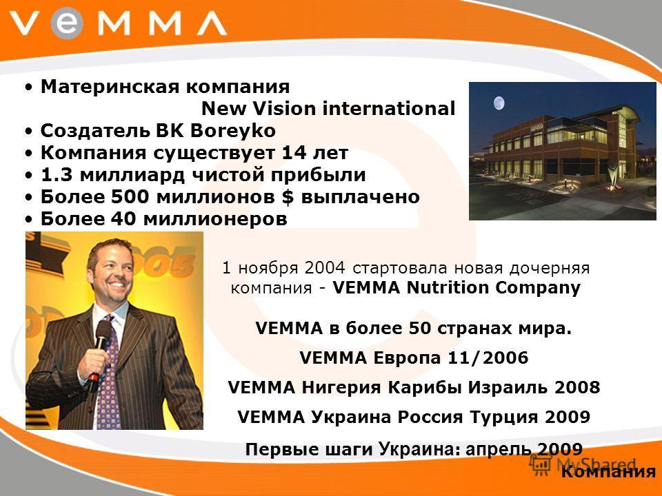 Материнская компания New Vision international Создатель BK Boreyko Компания существует 14 лет 1.3 миллиард чистой прибыли Более 500 миллионов $ выплачено Более 40 миллионеров 1 ноября 2004 стартовала новая дочерняя компания - VEMMA Nutrition Company