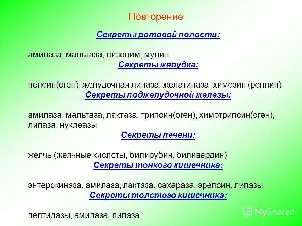 Повторение Секреты ротовой полости: амилаза, мальтаза, лизоцим, муцин Секреты желудка: пепсин(оген), желудочная липаза, желатиназа, химозин (реннин) Секреты поджелудочной железы: амилаза, мальтаза, лактаза, трипсин(оген), химотрипсин(оген), липаза, н
