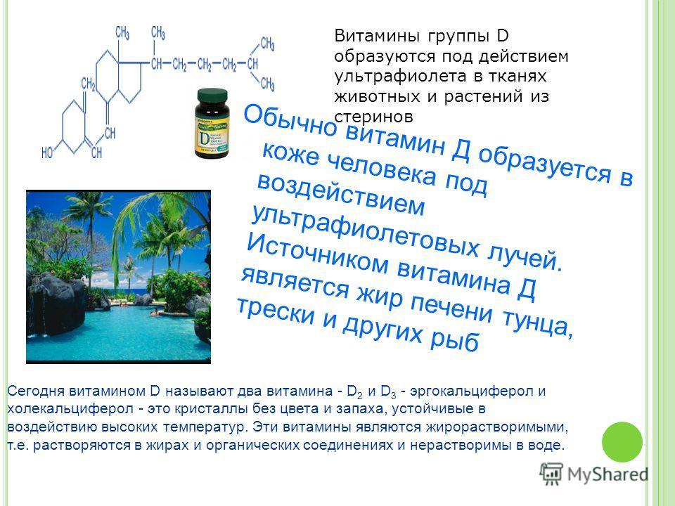 Витамины группы D образуются под действием ультрафиолета в тканях животных и растений из стеринов Сегодня витамином D называют два витамина - D 2 и D 3 - эргокальциферол и холекальциферол - это кристаллы без цвета и запаха, устойчивые в воздействию в