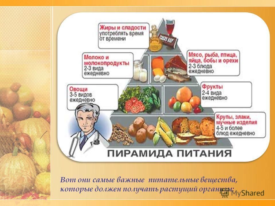 Вот они самые важные питательные вещества, которые должен получать растущий организм: