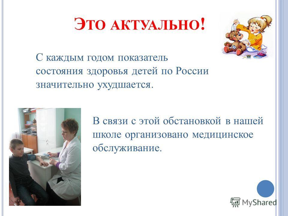 Э ТО АКТУАЛЬНО ! С каждым годом показатель состояния здоровья детей по России значительно ухудшается. В связи с этой обстановкой в нашей школе организовано медицинское обслуживание.