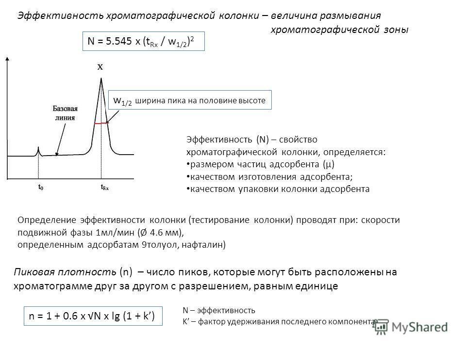 Эффективность хроматографической колонки – величина размывания хроматографической зоны Эффективность (N) – свойство хроматографической колонки, определяется: размером частиц адсорбента (µ) качеством изготовления адсорбента; качеством упаковки колонки