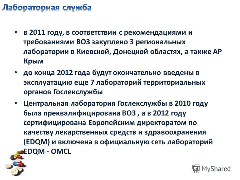в 2011 году, в соответствии с рекомендациями и требованиями ВОЗ закуплено 3 региональных лаборатории в Киевской, Донецкой областях, а также АР Крым до конца 2012 года будут окончательно введены в эксплуатацию еще 7 лабораторий территориальных органов