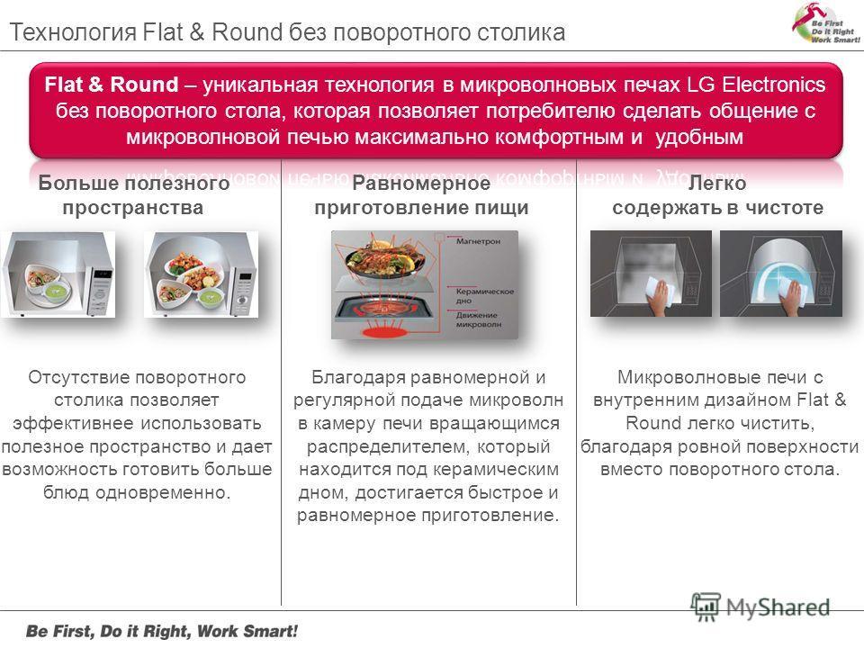 Технология Flat & Round без поворотного столика Больше полезного пространства Равномерное приготовление пищи Легко содержать в чистоте Отсутствие поворотного столика позволяет эффективнее использовать полезное пространство и дает возможность готовить