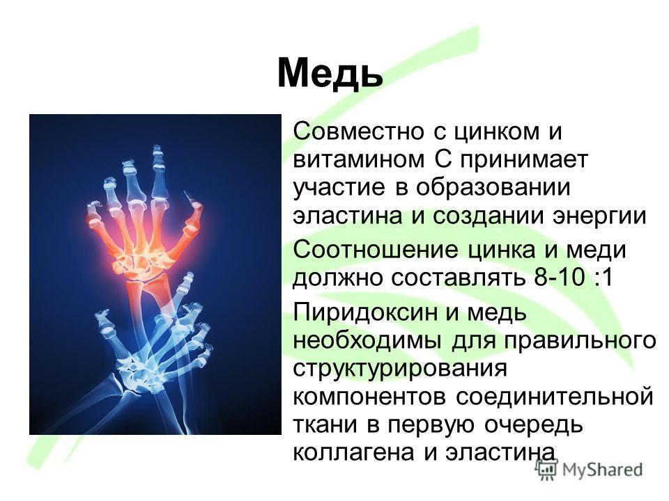 Медь Совместно с цинком и витамином C принимает участие в образовании эластина и создании энергии Соотношение цинка и меди должно составлять 8-10 :1 Пиридоксин и медь необходимы для правильного структурирования компонентов соединительной ткани в перв