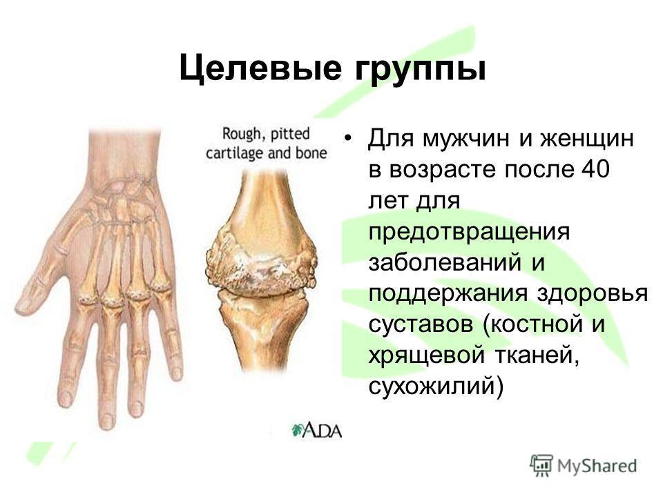 Целевые группы Для мужчин и женщин в возрасте после 40 лет для предотвращения заболеваний и поддержания здоровья суставов (костной и хрящевой тканей, сухожилий)